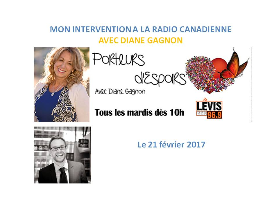 MON INTERVENTION A LA RADIO CANADIENNE